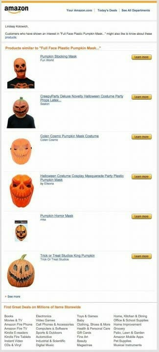 Amazon Personalized Email Advertisement Recommending Halloween Costume Ideas