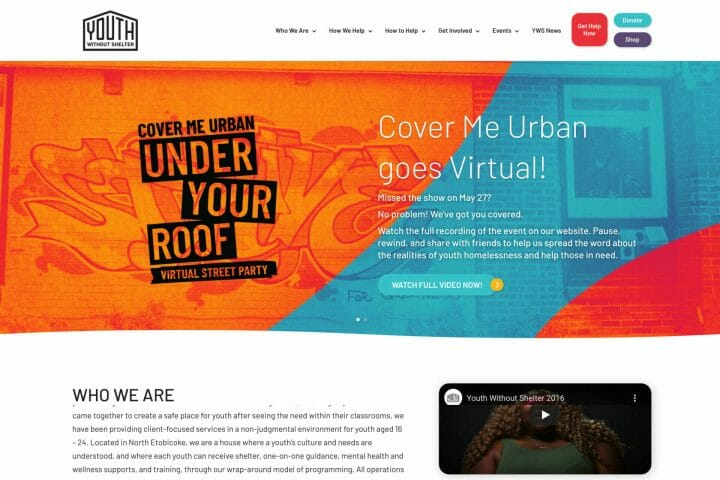 Thumbnail of Web Design project: Youth Without Shelter