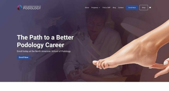 Thumbnail of Web Design project: North American School of Podology