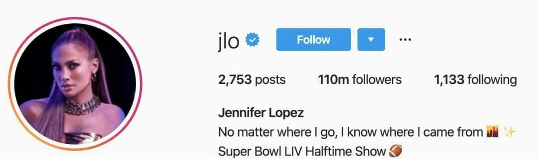 Jennifer Lopez Instagram profile